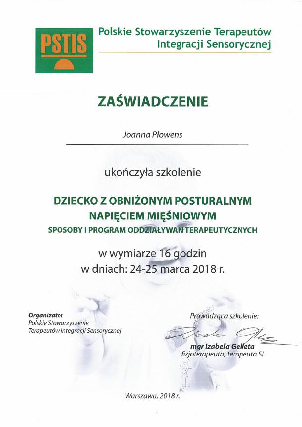 Certyfikat uczestnictwa w seminarium Pedagogika plany daltońskiego - moduł II.