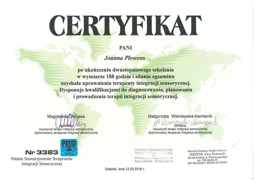 Certyfikat dla Pani Joanny Płowens