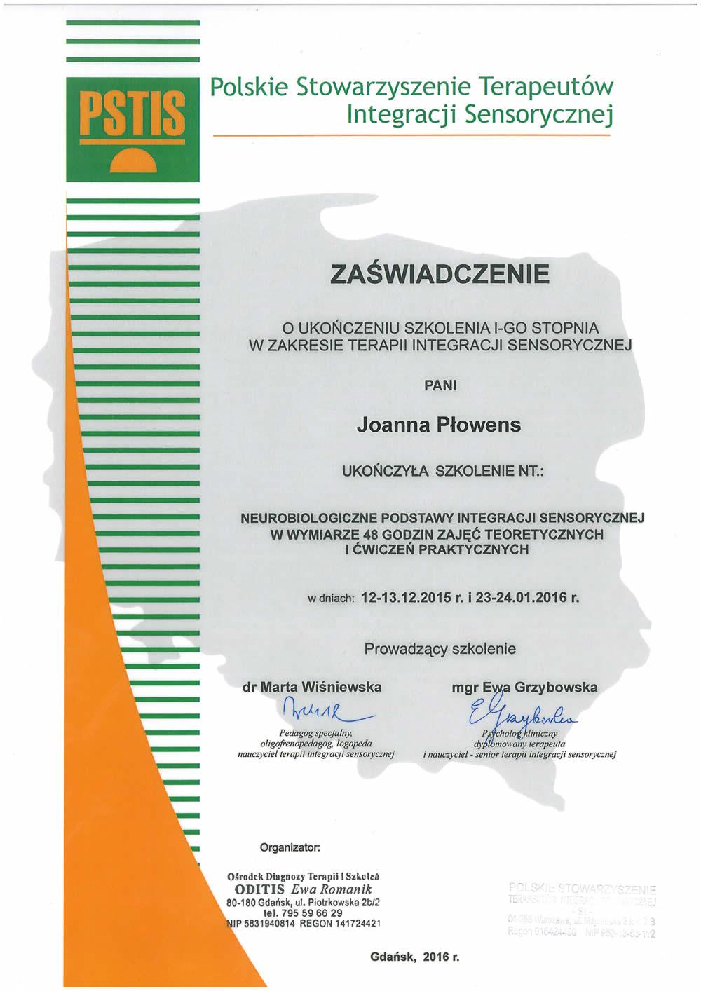 Zaświadczenie o ukończeniu szkolenia dla Pani Joanny Płowens